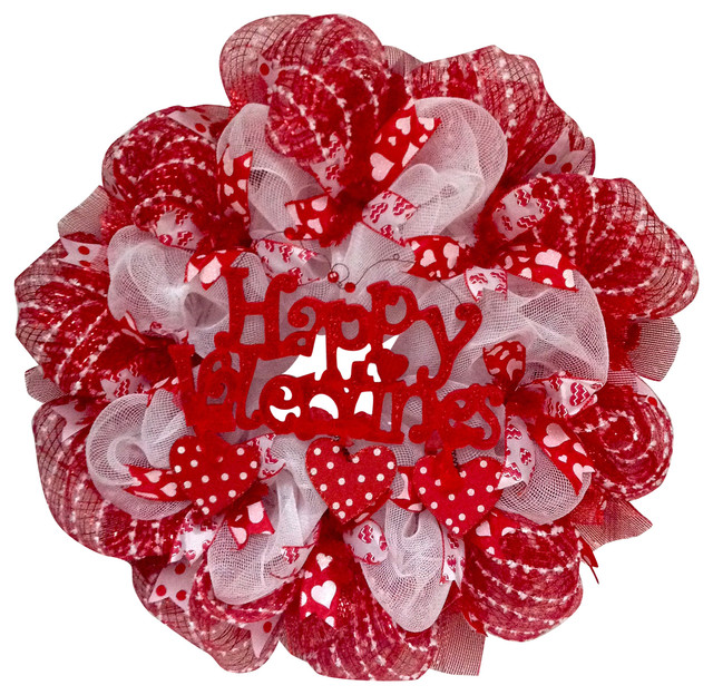 Valentines Day Wreath With Dangling Hearts Swiss Dot Handmade Deco Mesh.