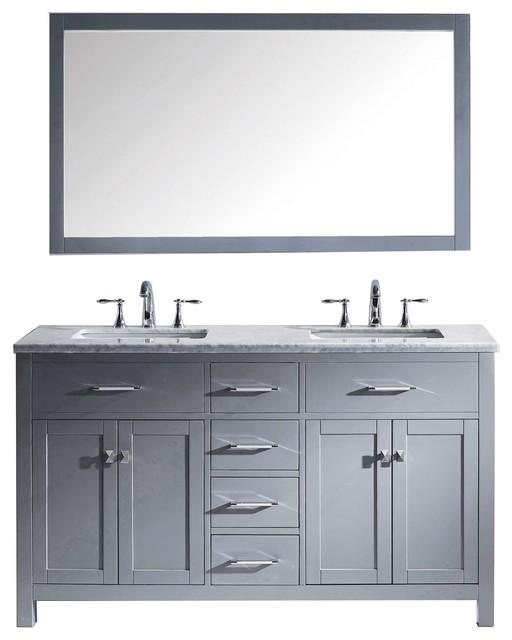 Caroline 60 Double Bathroom Vanity Set Gray, Marble Countertop by Avant Styles LLC