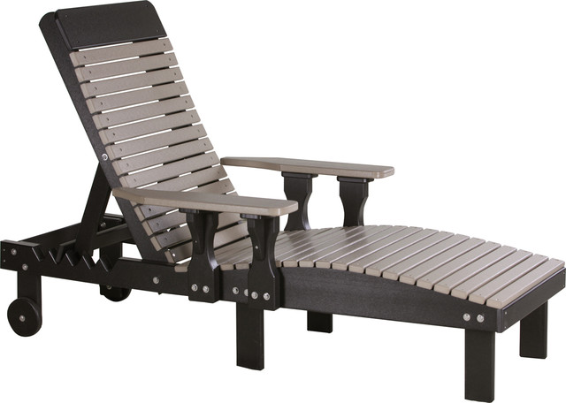 Poly Reclining Lounge Chair, Weather Wood/black.