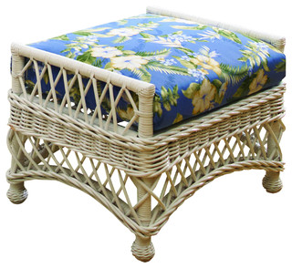 Bar Harbor Ottoman in White, Sweet Violet Fabric