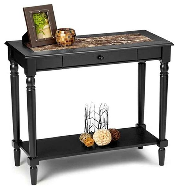 Traditional Foyer Table : Convenience concepts faux marble foyer hall table w
