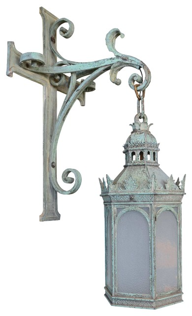 Consigned Large Gothic Cast Bronze Exterior Lantern - Victorian - Outdoor Wall Lights And ...