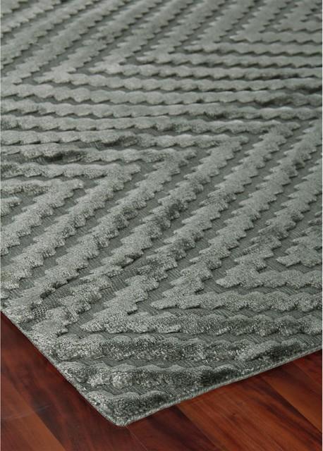 Textured Chevron Stone Bamboo Silk Rug