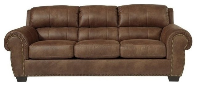 Ashley Burnsville Faux Leather Queen Size Sleeper Sofa Espresso Sleeper Sofas By Homesquare