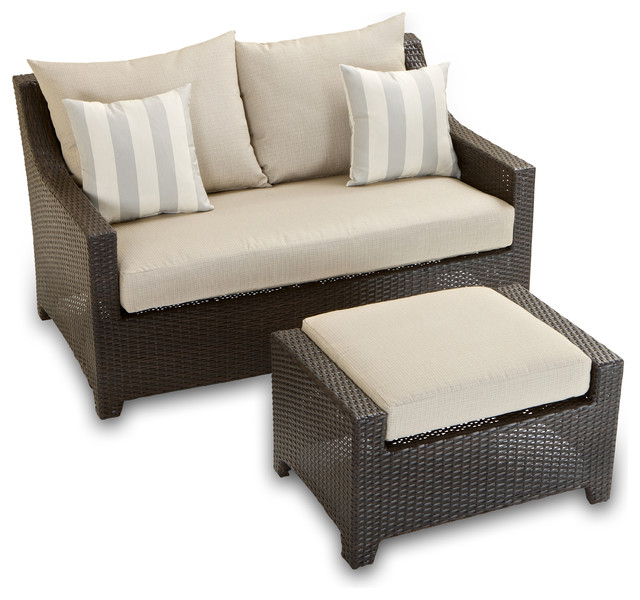 Deco loveseat and ottoman set contemporary outdoor lounge sets by rst outdoor - Deco lounge oud en modern ...