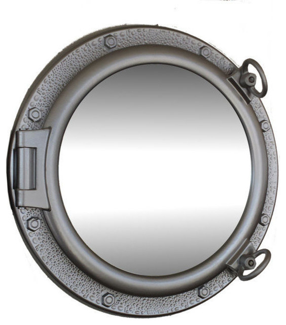 Handcrafted model ships porthole mirror bronzed 20 for Porthole style mirror