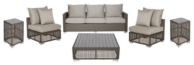 Azura Indoor/outdoor 6-Piece Open Weave Gray Seating Set, Taupe.