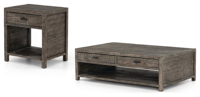 Two Piece Coffee End Table Set Mixed Reclaimed Wood Rustic Black Olive