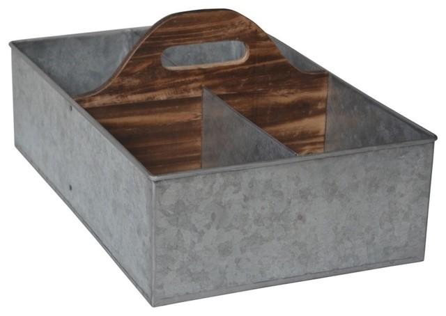 Cheungu0027s 4 Slot Galvanized Storage Caddy With Wood Center Handle Industrial  Storage Bins