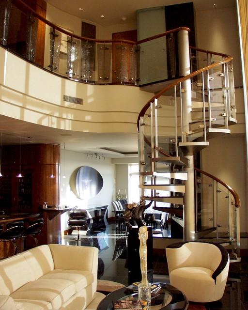Modern Interior Balcony and Spiral Staircase Contemporary