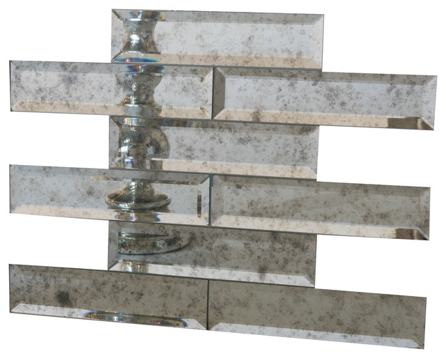 2x8 Beveled Edge Mirror Tile, Set Of 4 Sq Ft, Antique by Elegant Mosaics