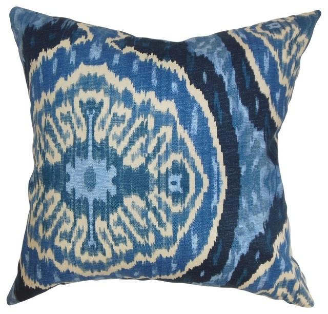"""Iovenali Ikat Pillow Blue 18""""x18""""."""