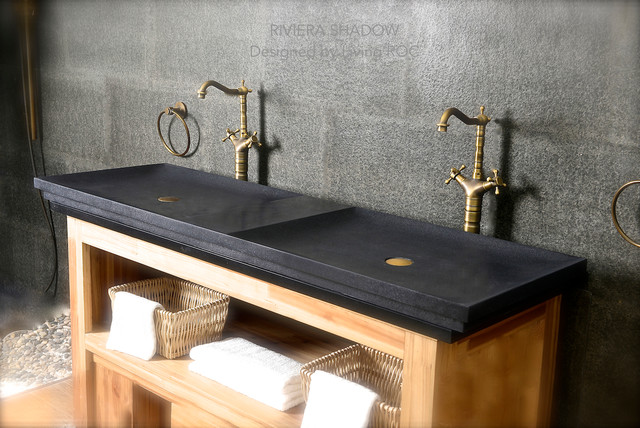 "Bathroom Sinks Usa 2 faucets double trough bathroom sink black granite 63"" shanxi"