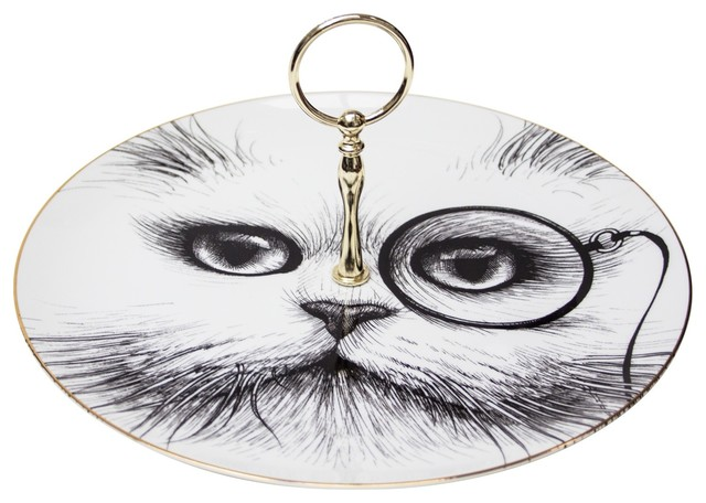 Cat Monocle Single Tier Cake Stand, Large