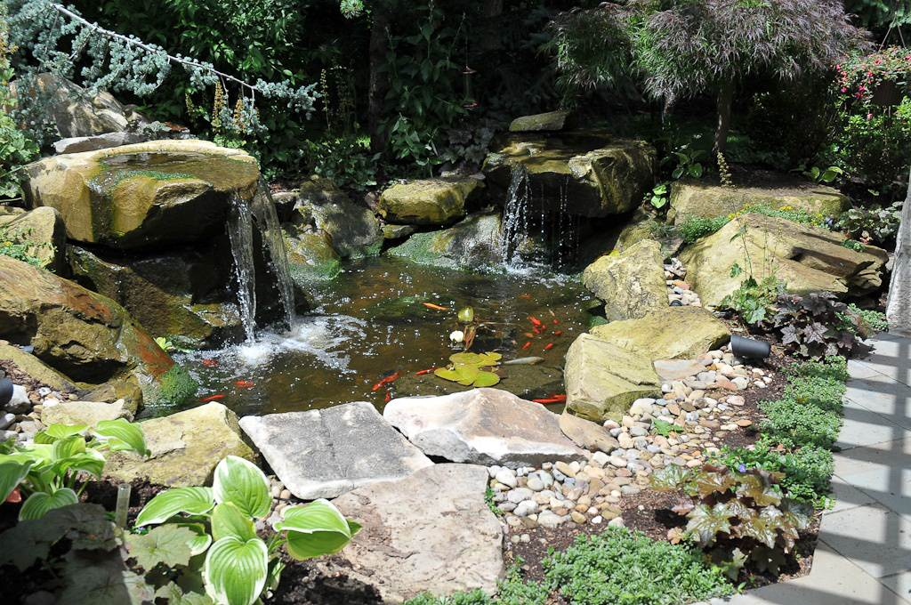 Carved Stone Waterfeature and Pond