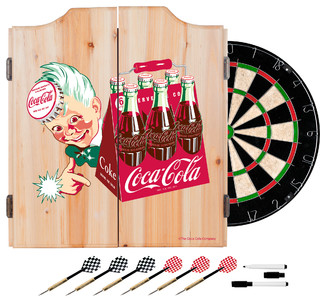 Coca Cola Dart Cabinet Set With Darts and Board, Classic 6 Pack - Contemporary - Darts And ...