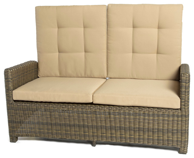 Crb Furniture Fiji Brown Wicker Reclining Loveseat View In Your Room Houzz