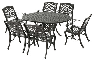 Clarisse Outdoor 7 Piece Finished Aluminum Dining Set - Traditional ...