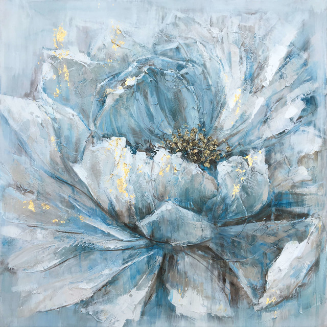 Pretty In Baby Blue Hand Painted Canvas Artwork Floral Art Fine Art Modern
