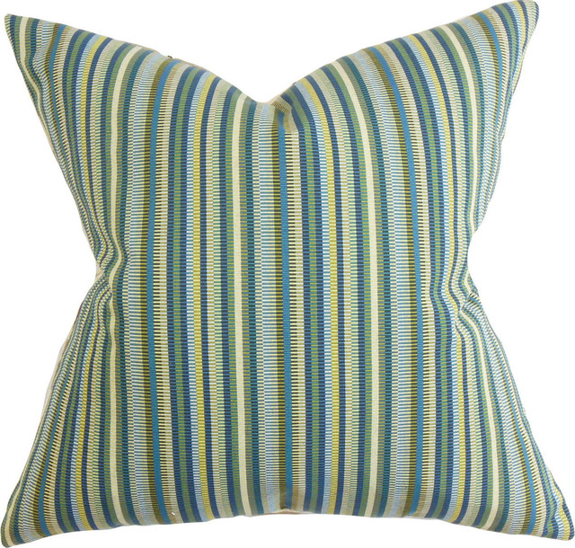 Blue Down Throw Pillows : Dafydd Stripes Down Feather Filler Pillow, Blue, 20