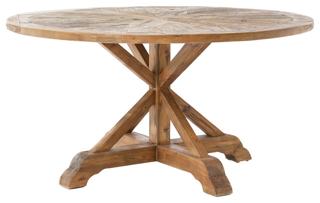 blaise rustic french star wood round dining table  traditional, Dining tables