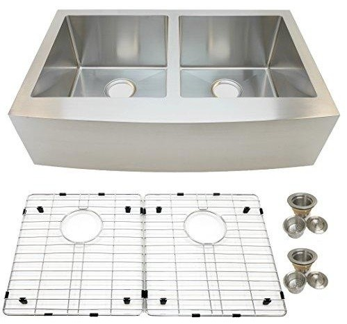 """Auric Sinks 36"""" Farmhouse Curved Front Apron Double Bowl 5050 Sink."""