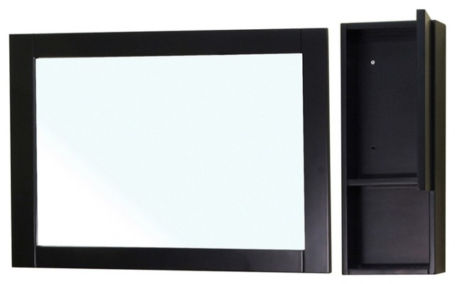 Rectangular Solid Wood Black Mirror and Side Cabinet - Contemporary - Medicine Cabinets - by ...