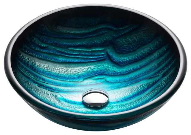 KrausNature Series Round Blue Glass Vessel Bathroom Sink