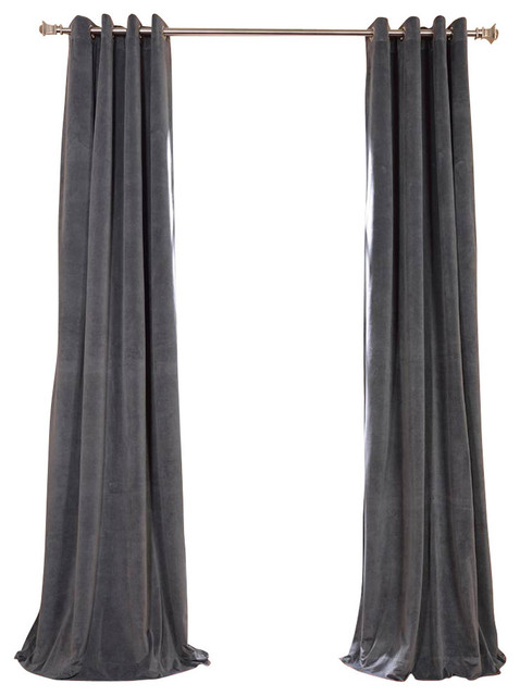 "Signature Natural Gray Grommet Blackout Velvet Curtain Single Panel, 50""x108""."