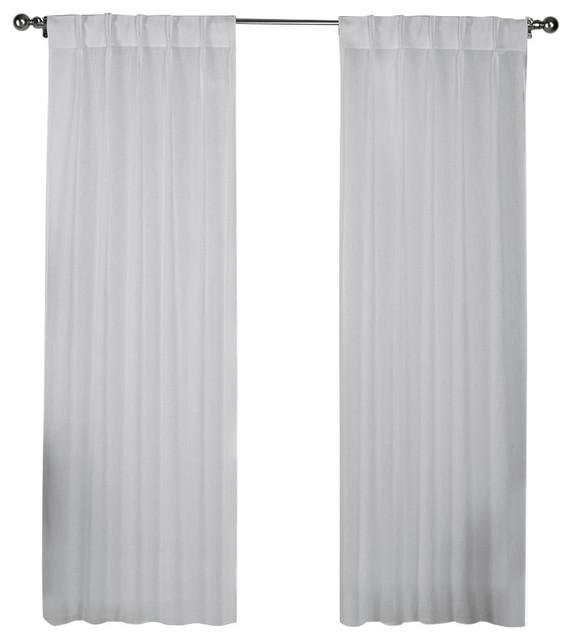 "Belgian Jacquard Sheer Window Curtain Panel, Set Of 2, Winter White, 54""x84""."