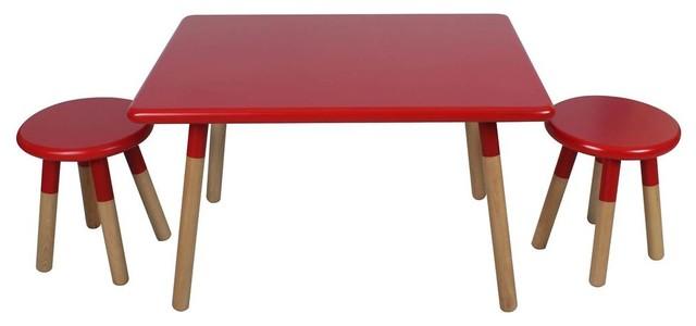 3 Piece Kids Table Set, Matte Red Finish