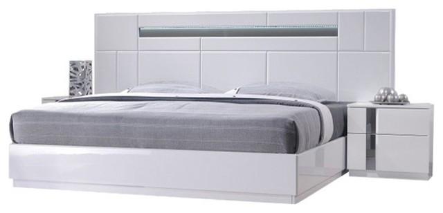 Palermo Modern Bedroom Set, White Lacquer, King, 5-Piece Set, King ...
