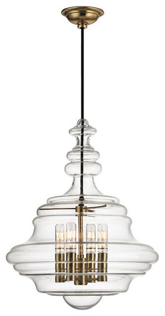 Washington, 4 Light, Pendant, Aged Brass Finish, Clear Glass.