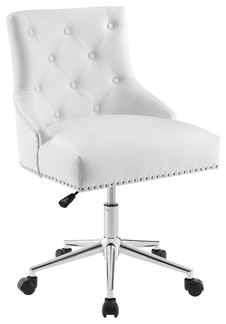 White Regent Tufted On Swivel Faux, White Leather Computer Chairs