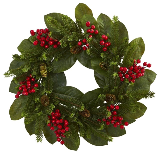 Christmas Wreath 24 Inch Magnolia Leaf Berry And Pine Door Wreath