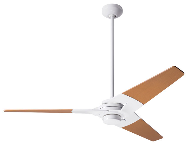 Modern Fan Torsion Led-Light Gloss White 52 Ceiling Fan With Wall Control.