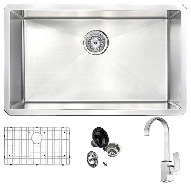 """Vanguard Undermount Stainless 30"""" Kitchen Sink And Faucet Set, Brushed Nickel."""