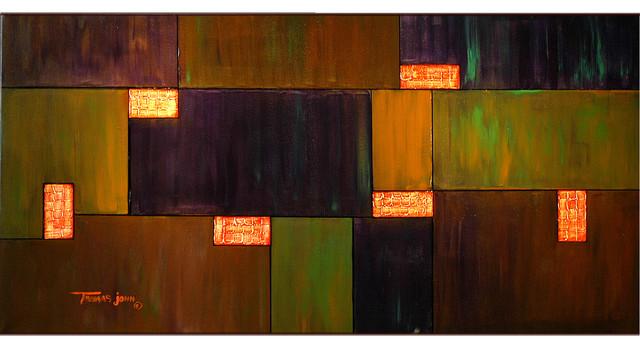 "Large 24""x48""x2"" Original Abstract Painting By Thomas John."