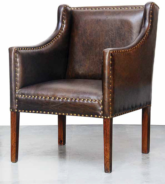 Tan Leather Accent Chair: Carleton Brown Leather Accent Chair