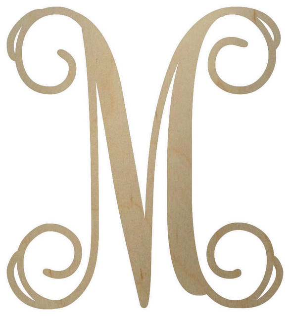 "Unfinished Wooden Monogram Letter, 18"", - Contemporary - Wall Letters - by BCrafty Company"