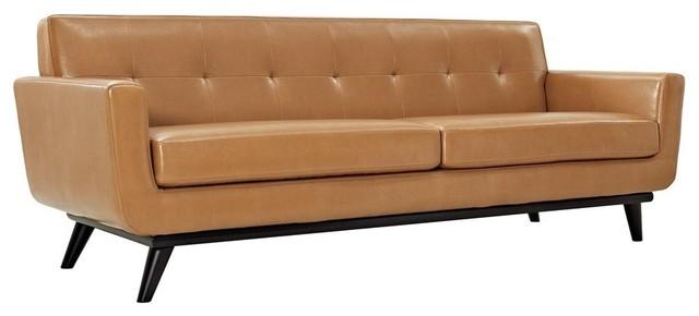 Engage Bonded Leather Sofa, Tan.