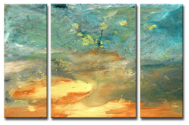 Abstract Landsape Canvas Wall Art 3 Piece Contemporary
