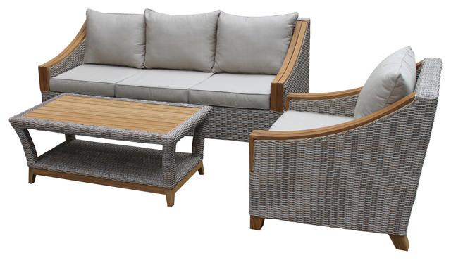 Pleasing Ash Wicker And Teak 3 Piece Sofa Set With Sunbrella Fabrics Uwap Interior Chair Design Uwaporg