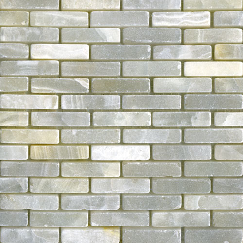 White Onyx Mini Brick Tumbled modern kitchen tile