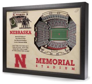 Nebraska Cornhuskers Memorial Stadium 3 D Wall Art