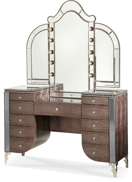 Hollywood Swank Upholstered Vanity and Mirror, hollywood glam, hollywood glam vanity, croc vanity
