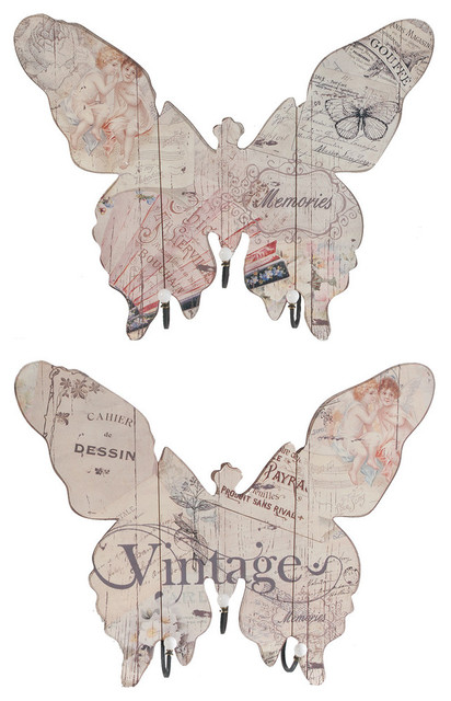 Butterfly Wall Plaques With Hooks Vintages, 2-Piece Set.