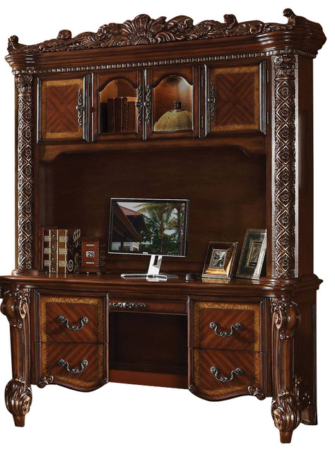 Acme Vendome Bookcase With Intricate Carving Design, Cherry  Traditional Desks And Hutches
