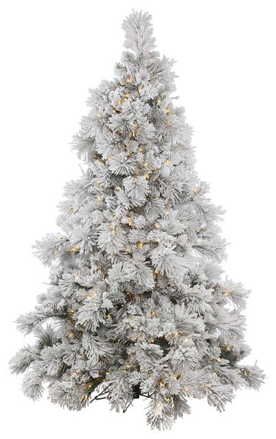 """Flocked Alberta Tree With Pinecones, 9'x73"""", Clear Lights"""