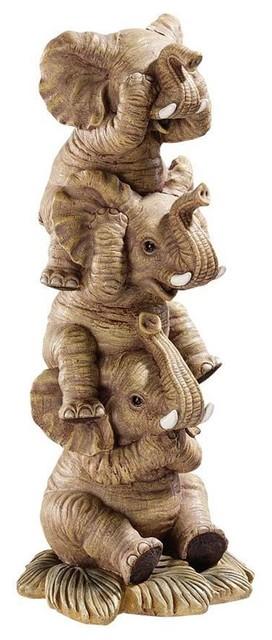 Tropical Elephants Hear-no See-no Speak-no Evil Statue Sculpture Figurine